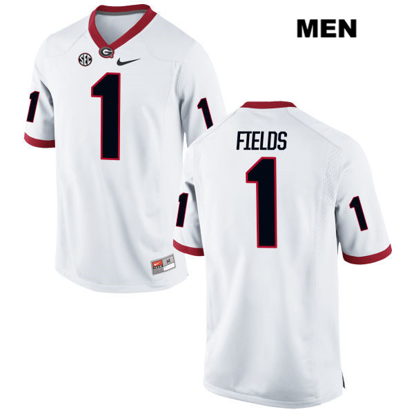 Justin Fields Georgia Bulldogs Nike no. 1 Stitched Mens White Authentic  College Football Jersey c12bc0558
